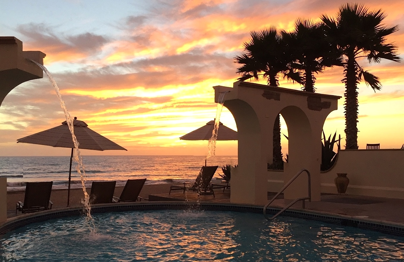 Sunset at the pool at Las Ventanas