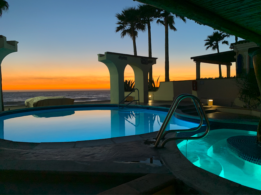 Pool and Jacuzzi at Dusk